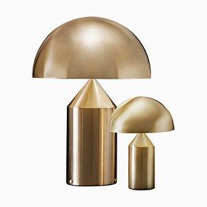 Lámparas de mesa Atollo grandes y pequeñas doradas de Oluce. Juego de 2