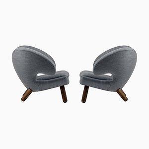 Pelican Stühle aus Stoff und Holz von Finn Juhl, 2er Set