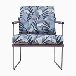 Armchair Safari Audrey Gp05 Steel/Oak/Chrysler Fabric by Peter Ghyczy