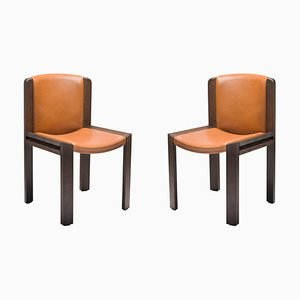 Chairs 300 in Wood and Sørensen Leather by Joe Colombo, Set of 2