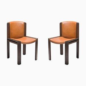 Stühle 300 aus Holz und Sørensen Leder von Joe Colombo, 2er Set