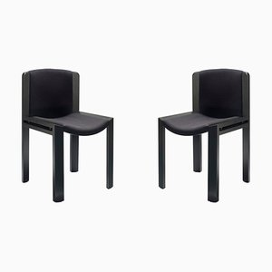Model 300 Chairs in Wood with Kvadrat Fabric by Joe Colombo, Set of 2