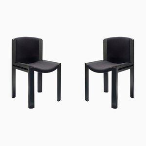 Modell 300 Stühle aus Holz mit Kvadrat Stoff von Joe Colombo, 2er Set