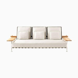 Fenc-E-Nature Outdoor Sofa in Steel, Teak and Fabric by Philippe Starck for Cassina