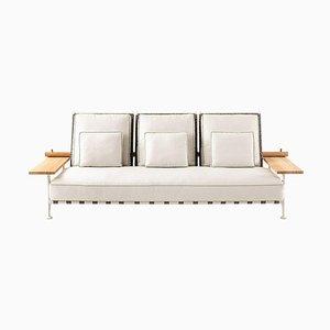 Sofá de exterior Fenc-E-Nature de acero, teca y tela de Philippe Starck para Cassina