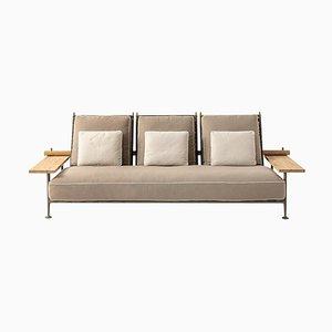 Canapé d'Extérieur Fenc-E-Nature en Acier, Teck et Tissu par Philippe Starck pour Cassina