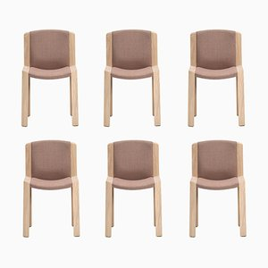 Chairs 300 in Wood and Kvadrat Fabric by Joe Colombo, Set of 6