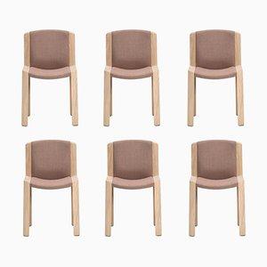 Stühle 300 aus Holz und Kvadrat Stoff von Joe Colombo, 6er Set