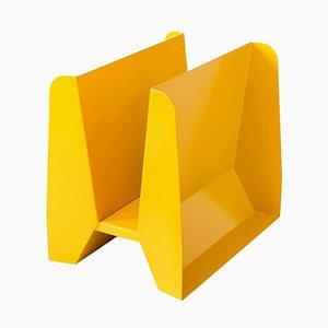 Adler Yellow Metal Sculptural Magazine Rack by Adolfo Abejon