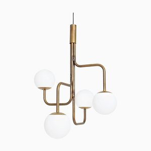 Large Strapatz Glob Brass Ceiling Lamp by Sabina Grubbeson for Konsthantverk