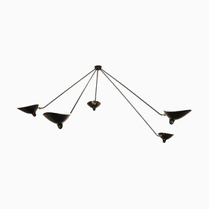 Black 5 Fixed Arm Spider Ceiling Lamp by Serge Mouille