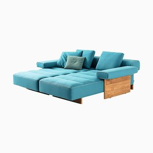 Sofá de exterior Sail Out de metal, teca y tela impermeable de Rodolfo Dordoni para Cassina