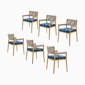 Dine Out Outside Chairs in Teak, Rope & Fabric by Rodolfo Dordoni for Cassina, Set of 6