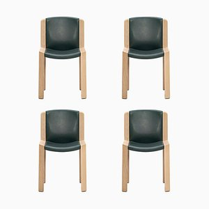 Model 300 Wood and Sørensen Leather Chairs by Joe Colombo, Set of 4