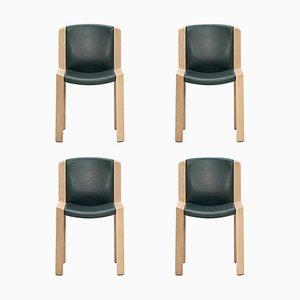 Modell 300 Stühle aus Holz & Sørensen Leder von Joe Colombo, 4er Set