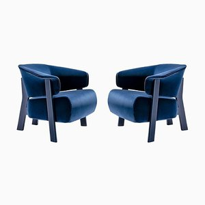 Back-Wing Armchairs in Wood, Foam and Fabric by Patricia Urquiola for Cassina, Set of 2