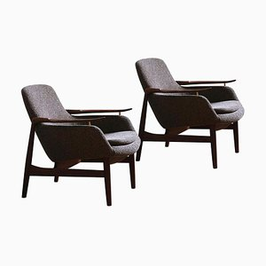 Model 53 Chairs in Fabric and Wood by Finn Juhl, Set of 2
