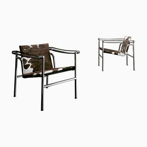 Lc1 Chairs by Le Corbusier, Pierre Jeanneret & Charlotte Perriand for Cassina, Set of 2