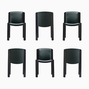 Chairs 300 in Wood and Sørensen Leather by Joe Colombo, Set of 6