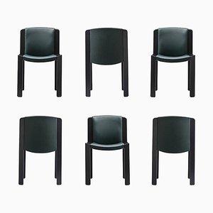 Stühle 300 aus Holz und Sørensen Leder von Joe Colombo, 6er Set