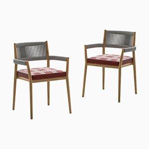 Chaises d'Extérieur en Teck, Corde et Tissu par Rodolfo Dordoni pour Cassina