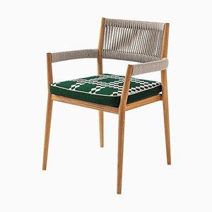 Dine Out Stuhl aus Teak, Seil und Stoff von Rodolfo Dordoni für Cassina