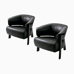 Back-Wing Armchairs in Wood, Foam & Leather by Patricia Urquiola for Cassina, Set of 2