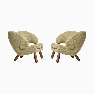 Pelican Chairs Upholstered in Raf Simons Fabric by Finn Juhl, Set of 2