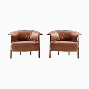 Back-Wing Armchairs in Wood, Foam and Leather by Patricia Urquiola for Cassina, Set of 2