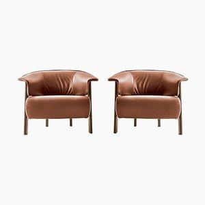 Back-Wing Sessel aus Holz, Schaumstoff und Leder von Patricia Urquiola für Cassina, 2er Set