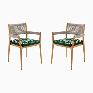 Dine Out Outside Chairs in Teak, Rope & Fabric by Rodolfo Dordoni for Cassina, Set of 2