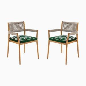 Dine Out Stühle aus Teak, Seil & Stoff von Rodolfo Dordoni für Cassina, 2er Set