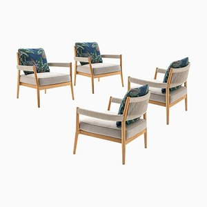 Dine Out Armchairs in Teak, Rope & Fabric by Rodolfo Dordoni for Cassina, Set of 4