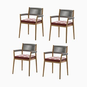 Dine Out Outside Chairs in Teak, Rope and Fabric by Rodolfo Dordoni for Cassina, Set of 4