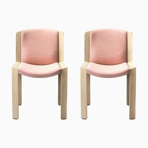 Chairs 300 in Wood and Kvadrat Fabric by Joe Colombo, Set of 2