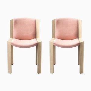 Stühle 300 aus Holz und Kvadrat Stoff von Joe Colombo, 2er Set