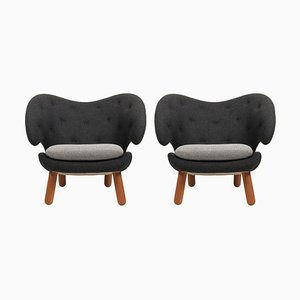 Pelican Chairs in Fabric and Wood by Finn Juhl, Set of 2