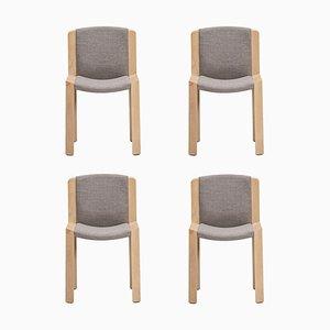 Modell 300 Stühle aus Holz und Kvadrat Stoff von Joe Colombo, 4er Set