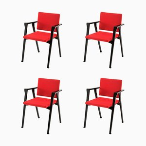 Luisa Chairs in Wood and Fabric by Franco Albini for Cassina, Set of 4