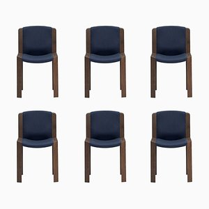 Model 300 Chairs in Wood and Kvadrat Fabric by Joe Colombo, Set of 6