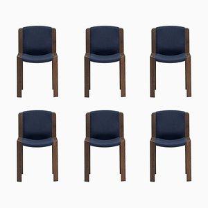 Modell 300 Stühle aus Holz und Kvadrat Stoff von Joe Colombo, 6er Set