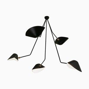 Moderne Schwarze Spider Deckenlampe mit Fünf Geschwungenen Armen von Serge Mouille