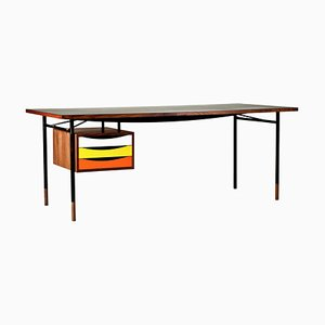 Nyhavn Desk in Wood and Black Lino with Tray Unit in Warm Colorway by Finn Juhl