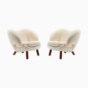 Skandilock Sheep and Wood Pelican Chairs by Finn Juhl, Set of 2