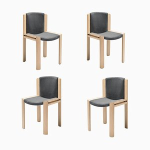 Chairs 300 in Wood and Kvadrat Fabric by Joe Colombo, Set of 4