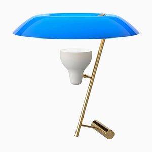 Lampada modello 548 in ottone lucidato con diffusore blu di Gino Sarfatti