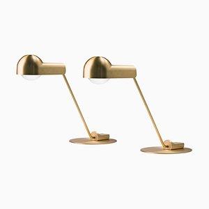 Lámparas de mesa Domo de latón de Joe Colombo. Juego de 2