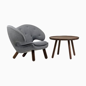 Wood and Fabric Pelican Chair and Table by Finn Juhl, Set of 2