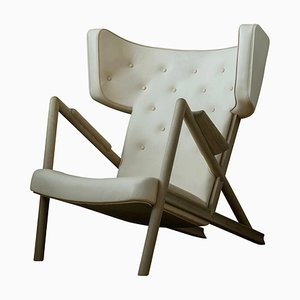 Grasshopper Armchair in Wood and Leather by Finn Juhl