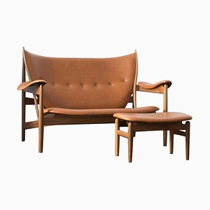 Chieftain Sofa Couch and Chieftain Stool in Wood and Leather by Finn Juhl, Set of 2